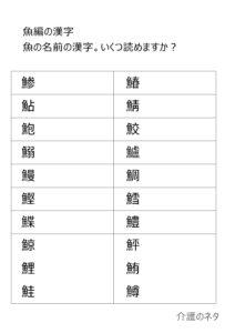 魚へんの漢字