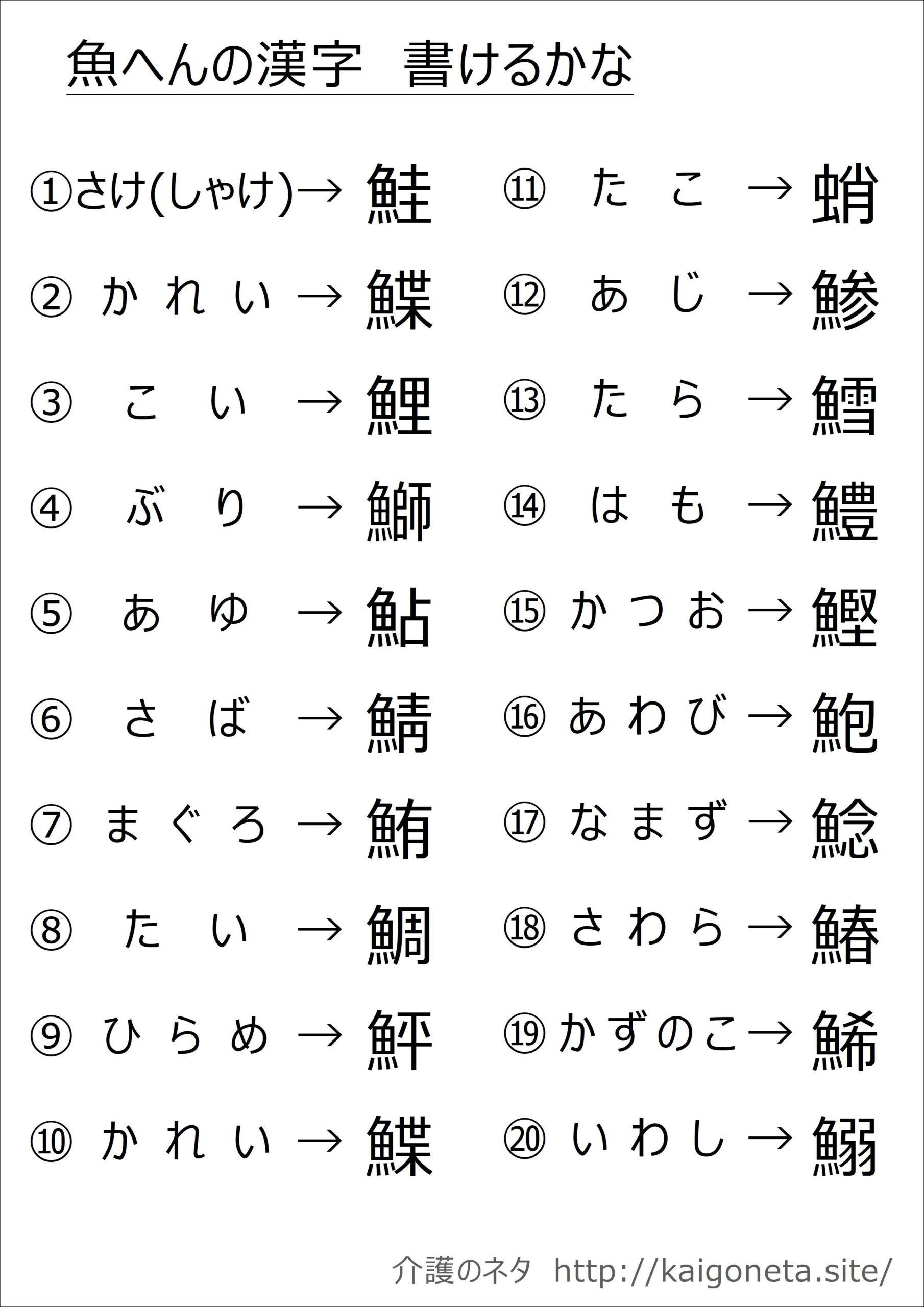 一覧 の 漢字 魚 へん